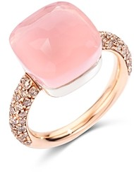 Pomellato 18K White Gold & 18K Rose Gold Nudo Maxi Rose Quartz, Chalcedony & Brown Diamond Ring