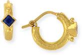 Elizabeth Locke 19K Baby Hammered Hoop Earrings with Blue Sapphires