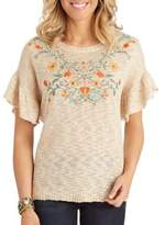 Democracy Ruffle Sleeve Embroidered Sweater