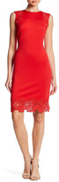 Donna Ricco Lace Trim Midi Dress