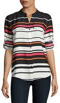 Calvin Klein Printed Button-Front Blouse