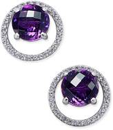 Macy's Gemstone (1-1/2 ct. t.w.) and Diamond (1/6 ct. t.w.) Round Halo Birthstone Stud Earrings in Sterling Silver