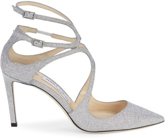 Jimmy Choo Glitter Point-Toe Leather Pumps