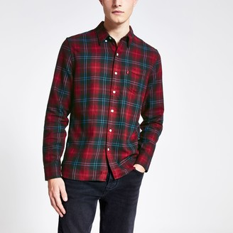 Levi's Mens River Island Red check long sleeve shirt