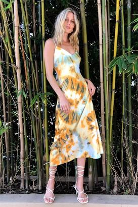 Nasty Gal Womens Right on Tie Dye Slip Maxi Dress - Orange - 4
