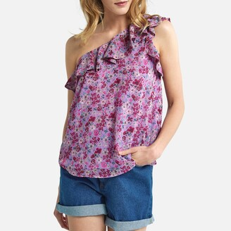 La Redoute Collections Floral Print Asymmetric Blouse with Ruffle Trim