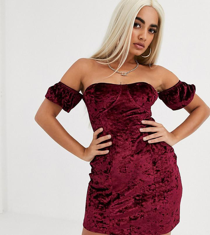 ASOS DESIGN Petite velvet off the shoulder mini dress