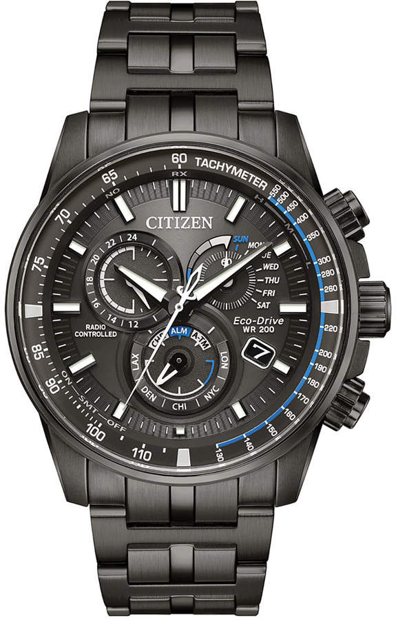Citizen Eco-Drive Men's Chronograph Perpetual Chrono A-t Gray Stainless Steel Bracelet Watch 43mm
