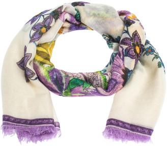 Roberto Cavalli Cream Floral Print Cashmere & Silk Scarf