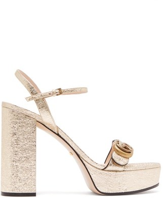 Gucci GG Marmont Leather Platform Sandals - Gold