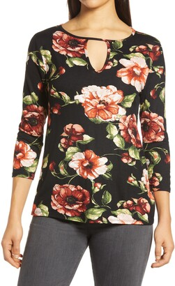 Loveappella Floral Keyhole Top