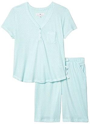 Karen Neuburger Petite Sky and Forest Short Sleeve Bermuda Pajama (Sage Geo) Women's Pajama Sets