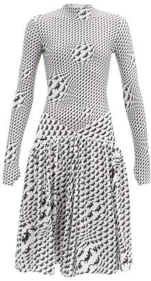 Marine Serre Psychedelic Salamander-print Jersey Dress - White Print