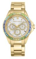Vince Camuto Goldtone Stainless Steel Multi-Color Crystal Chronograph, VC-5086MTGB