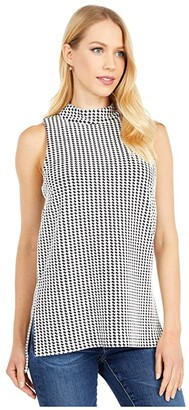 MICHAEL Michael Kors Cubist Split Hem Tunic (Black/White) Women's Clothing