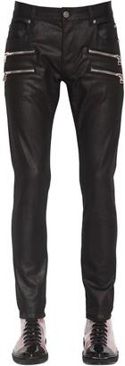 Balmain 15cm Waxed Slim Cotton Denim Jeans