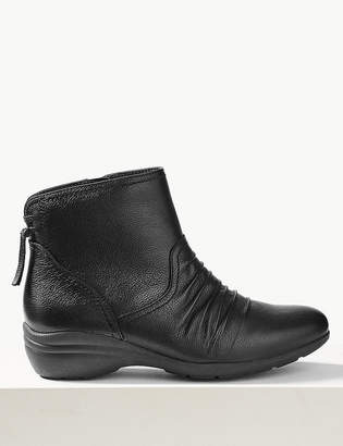 M&S CollectionMarks and Spencer Leather Wedge Tassel Ruched Ankle Boots
