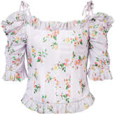 Brock Collection floral print dropped shoulders corset blouse