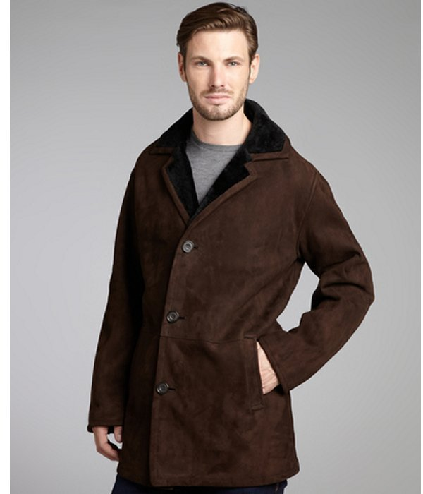 Blue Duck chocolate shearling framed collar coat
