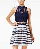 Sequin Hearts Juniors' 2-Pc. Cutout-Back Lace Striped Dress