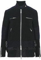 Sacai Wool And Shell Biker Jacket - Black