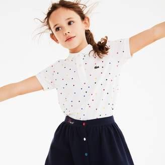 Lacoste Girls' Polka Dot Cotton Pique Polo