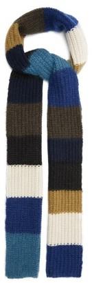 Marni Colour-block Mohair-blend Scarf - Blue White