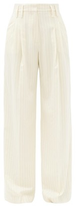 Racil Maxime Pinstriped Wool-blend Wide-leg Trousers - Ivory