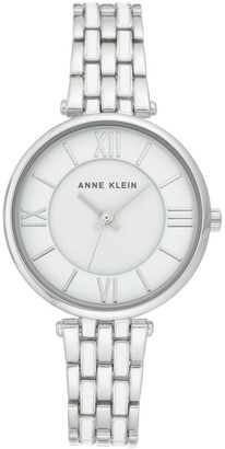 Anne Klein Womens Silvertone Roman Numeral Bracelet Watch