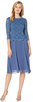 Alex Evenings Tea Length Sequin Lace Mock Dress (Wedgewood) Women's Dress