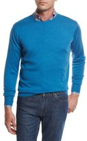 Peter Millar Crown Soft Merino Wool-Silk Crewneck Sweater, Bogue Blue