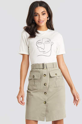 NA-KD Belted Cargo Pockets Mini Skirt Green