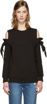 Sjyp Black Off-shoulder Knotted Pullover