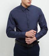 New Look Navy Cotton Mix Long Sleeve Shirt