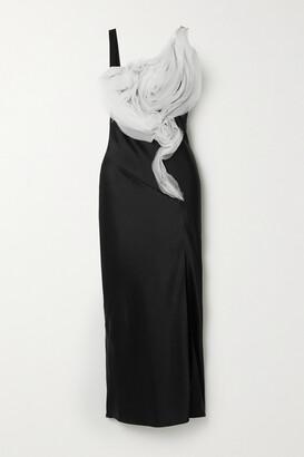 Jason Wu Ruffled Organza-trimmed Satin-crepe Midi Dress
