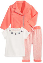 First Impressions 3-Pc. Moto Jacket, T-Shirt & Marled Leggings Set, Baby Girls (0-24 months), Only at Macy's