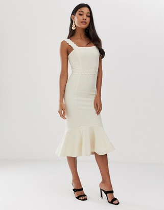 ASOS DESIGN Premium scallop detail bandage midi pencil dress with pep hem