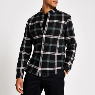 River Island Mens Black check print regular fit shirt