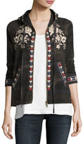 Johnny Was Zoe Embroidered Zip-Front Hoodie, Plus Size