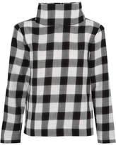 Tibi Metallic Gingham Cotton-blend Flannel Top - Black