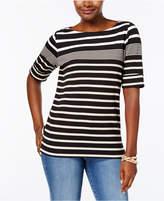 Karen Scott Petite Cotton Striped Boat-Neck Top, Created for Macy's