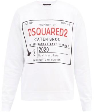 DSQUARED2 Logo-print Cotton-jersey Sweatshirt - White