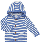 John Lewis Baby's Stripe Hooded Cardigan, Cream/Blue