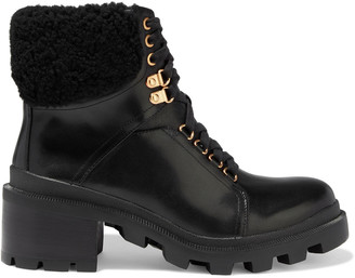 Alice + Olivia Hettie Shearling-trimmed Leather Combat Boots