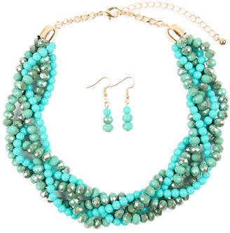 Riah Fashion Women's Earrings TURQUOISE - Teal Crystal & Goldtone Twist Beaded Statement Necklace Set