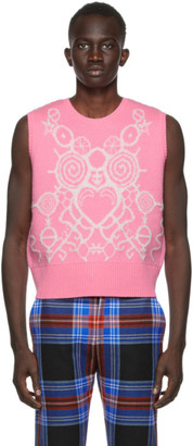 Charles Jeffrey Loverboy SSENSE Exclusive Pink and White Pict Vest