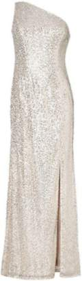 Adrianna Papell Silver Sequin Mermaid Gown