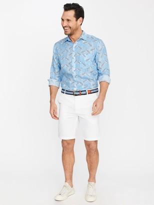 J.Mclaughlin Gramercy Classic Fit Linen Shirt in Mini Ibis Crest