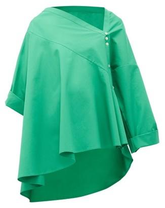Palmer Harding Palmer//harding - Asymmetric Cotton-poplin Trapeze Shirt - Womens - Green