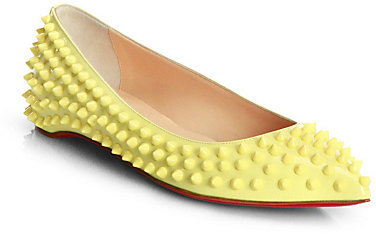 Christian Louboutin Pigalle Spiked Patent Leather Flats